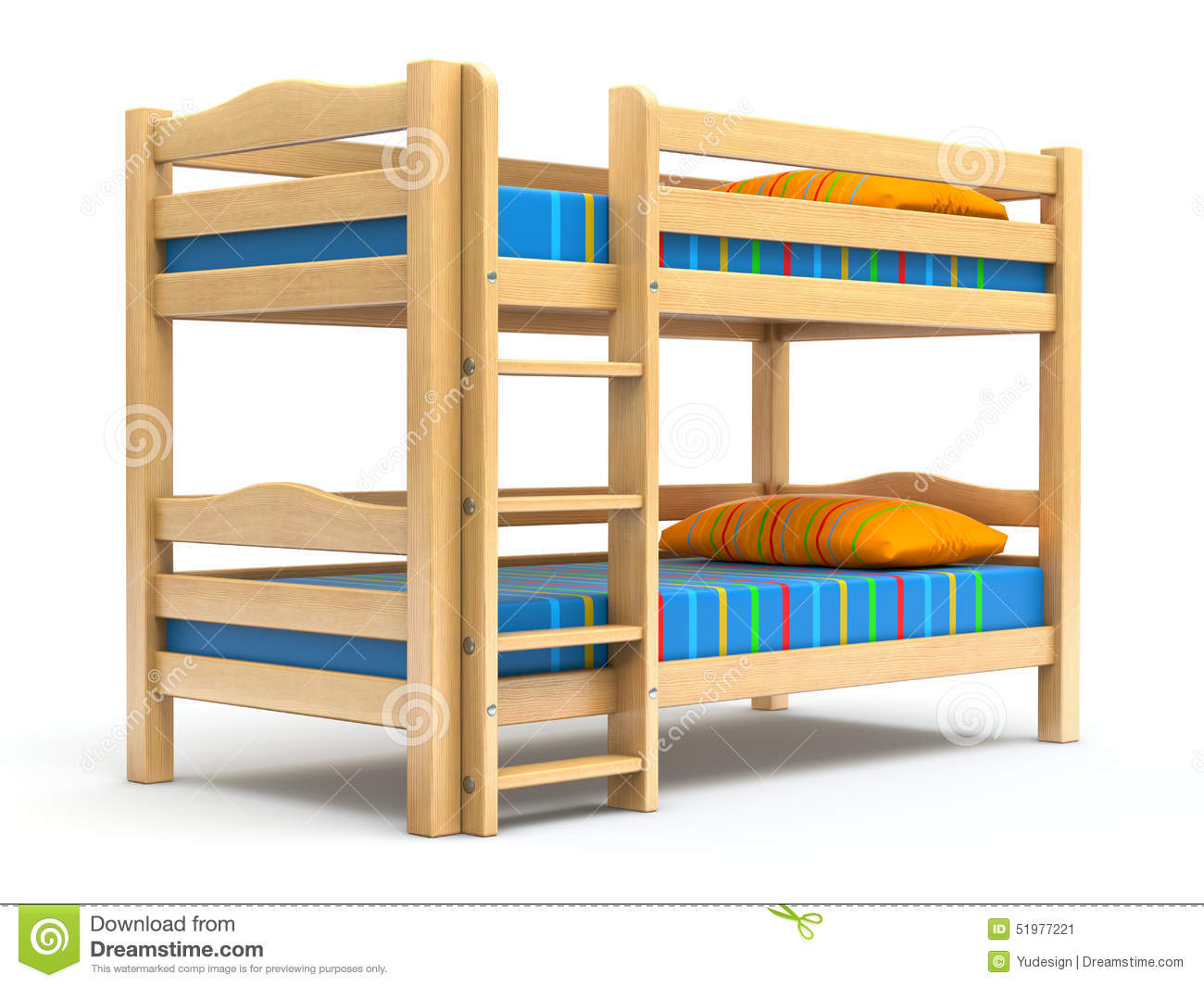 Wooden kids bunk bed on white background - 3D illustration