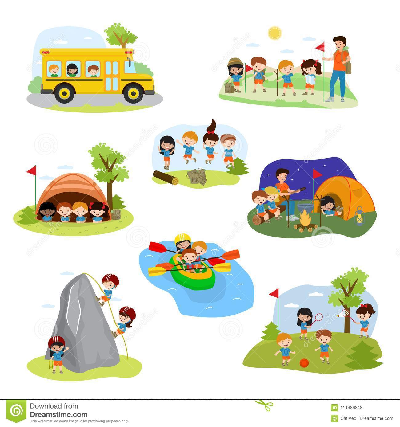 Kids Camp Vector Children Camper Characters And Camping Activity On
