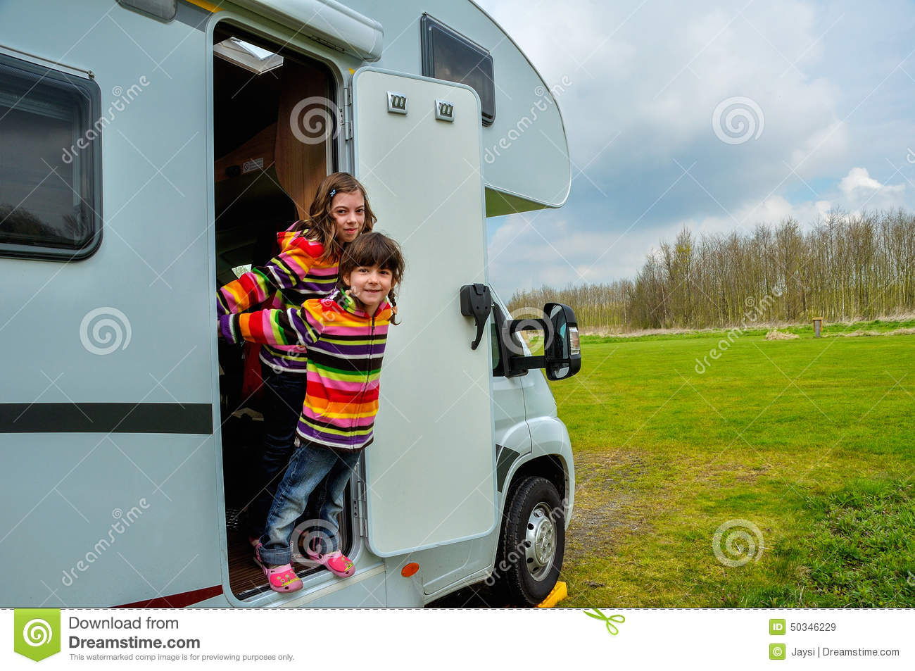 Motorhome Camper Going On Vacation Over Scandinavia Stock