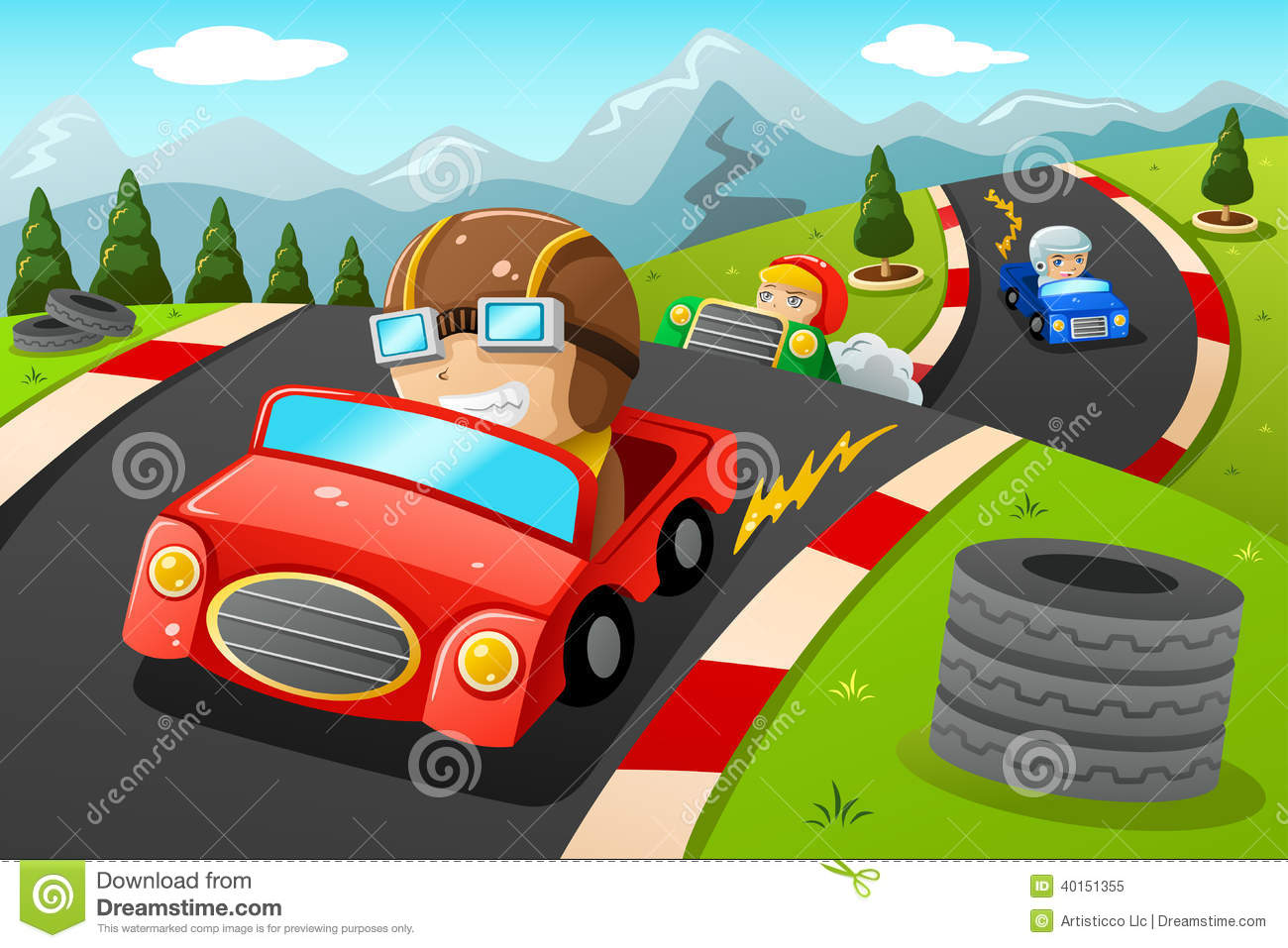 car happy illustration kids racing