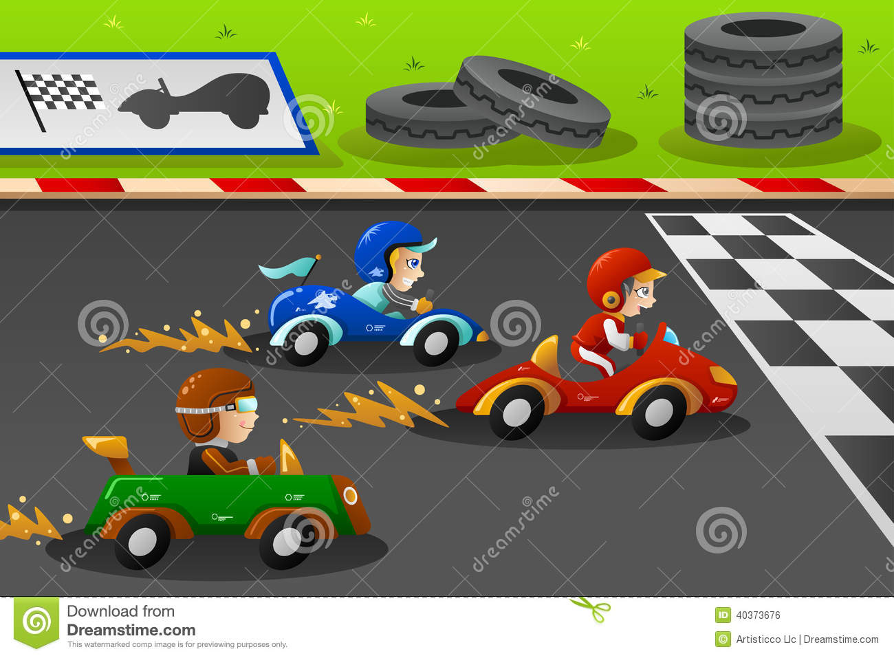 Kids in a car racing stock vector image 40373676 for Motor racing for kids