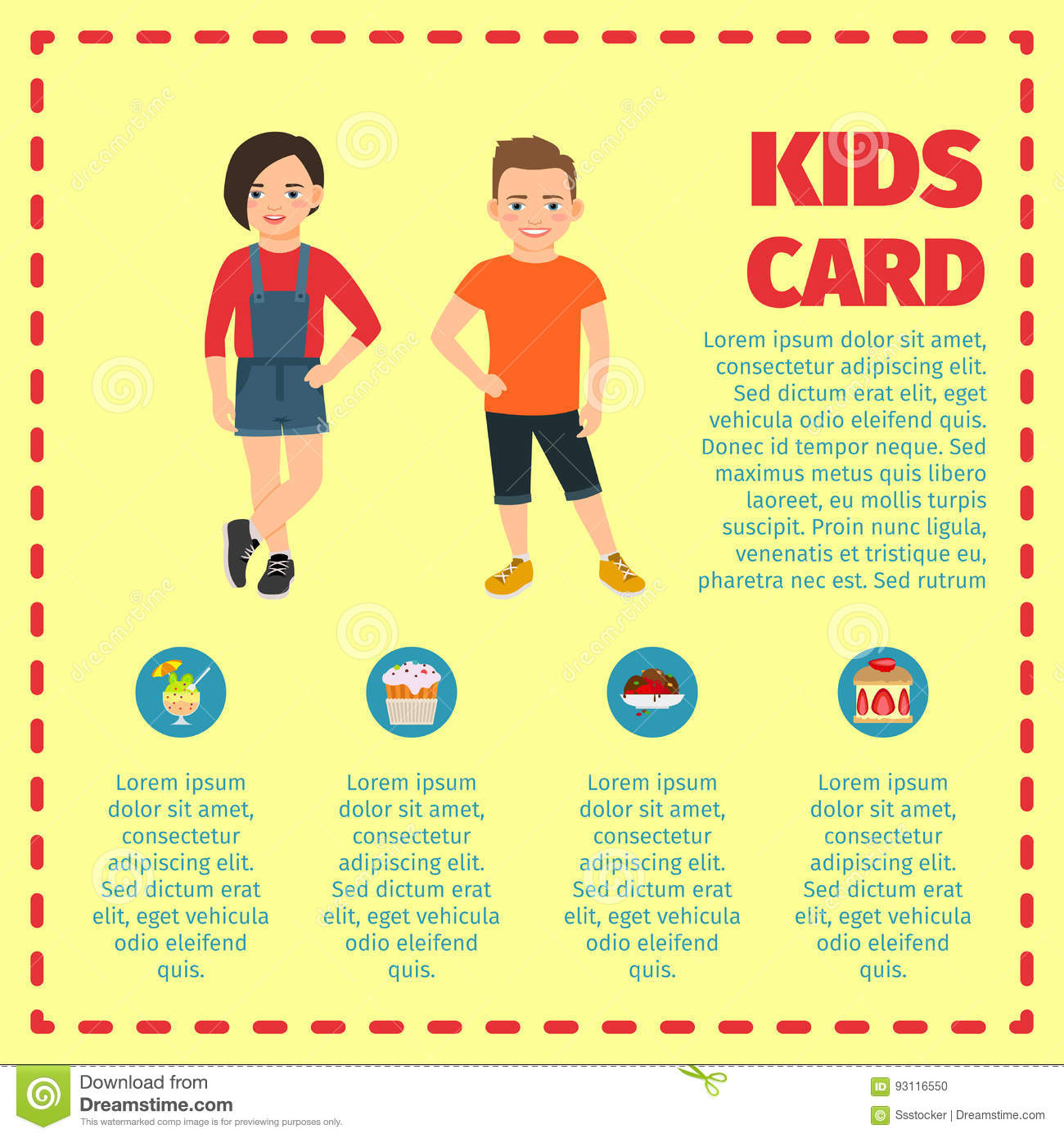 Kids Card Template For Infographic Stock Vector - Image ...
