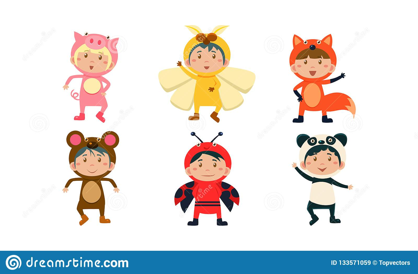 Kids in carnival costumes set, cute little boys and girls wearing insects and animals clothes, pig, bee, monkey, fox