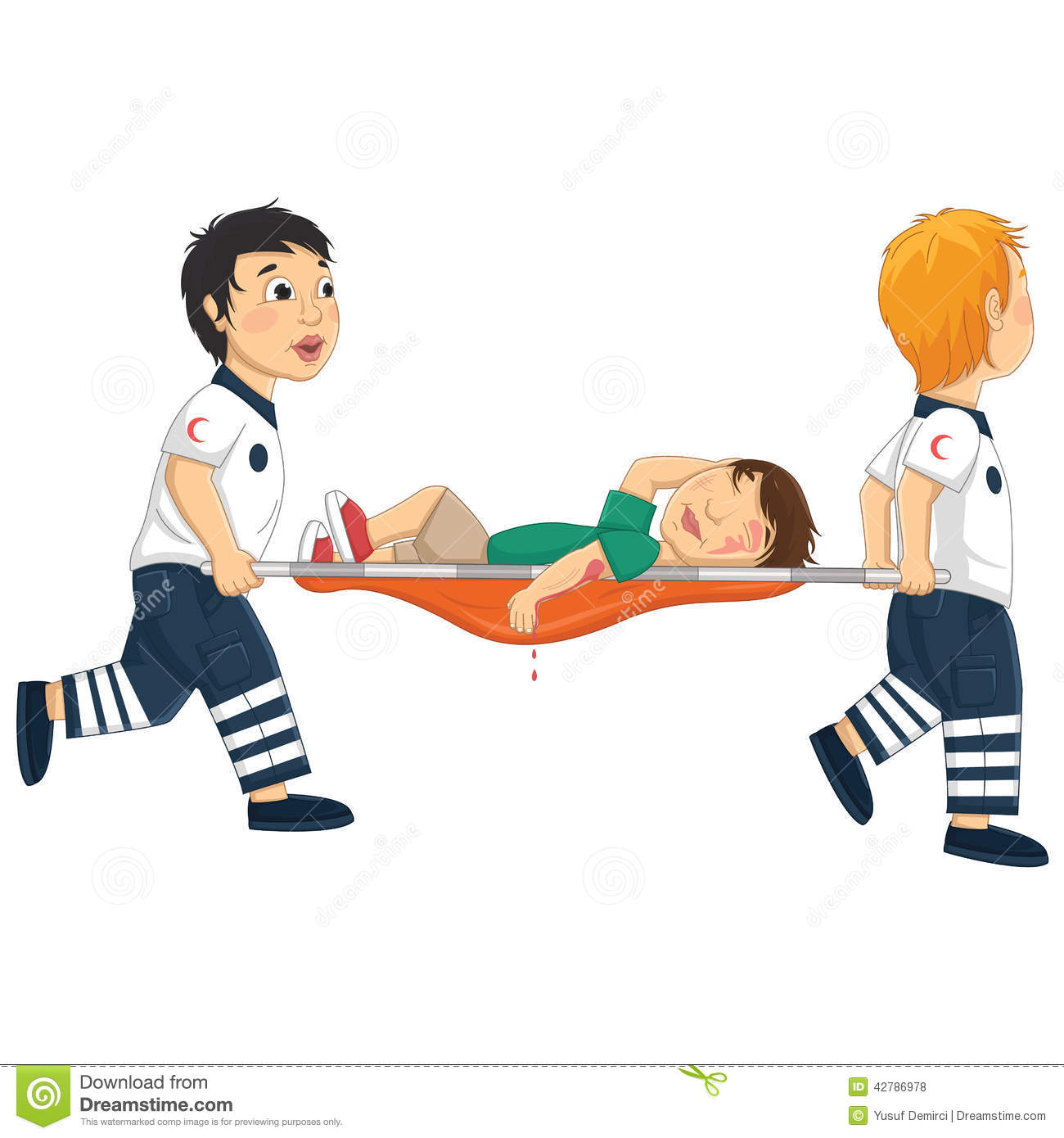 Kids Carry Stretcher Vector Illustration Stock Vector ...
