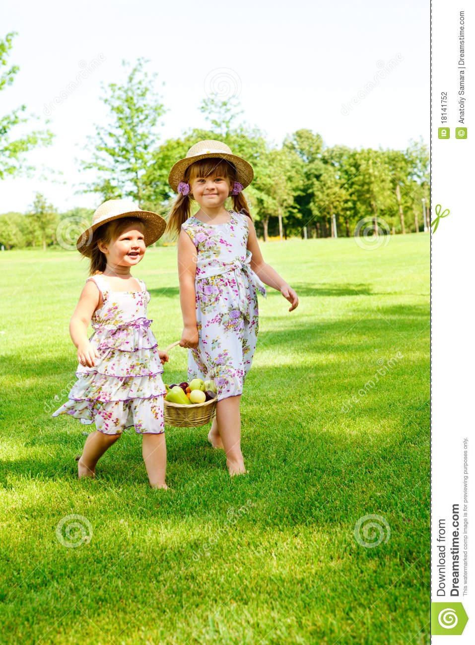 Kids Carrying Basket With Fruit Stock Photography Image