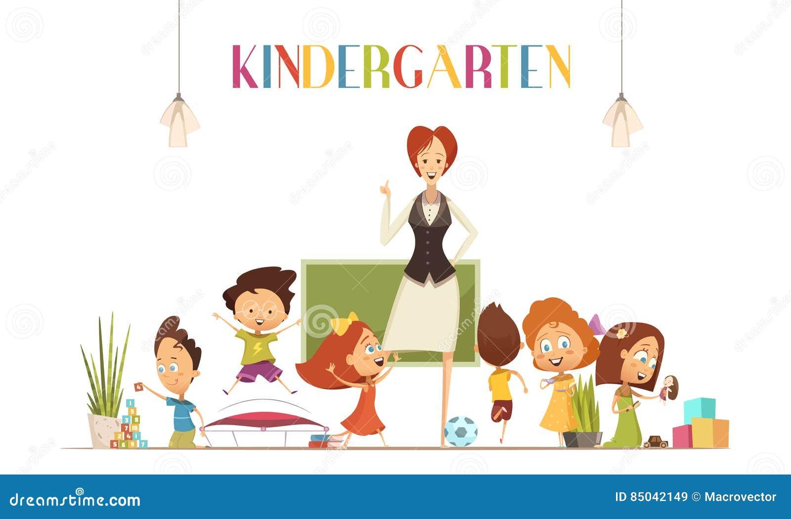 With Kids Cartoon för dagislärare illustration