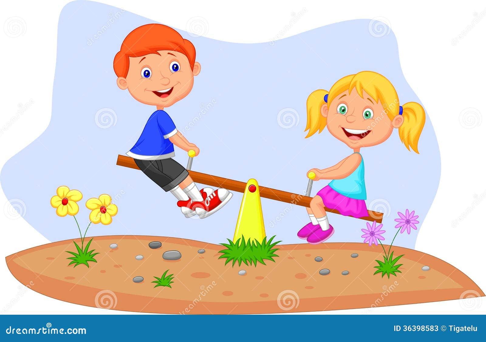 Kids cartoon riding on seesaw stock photos image 36398583