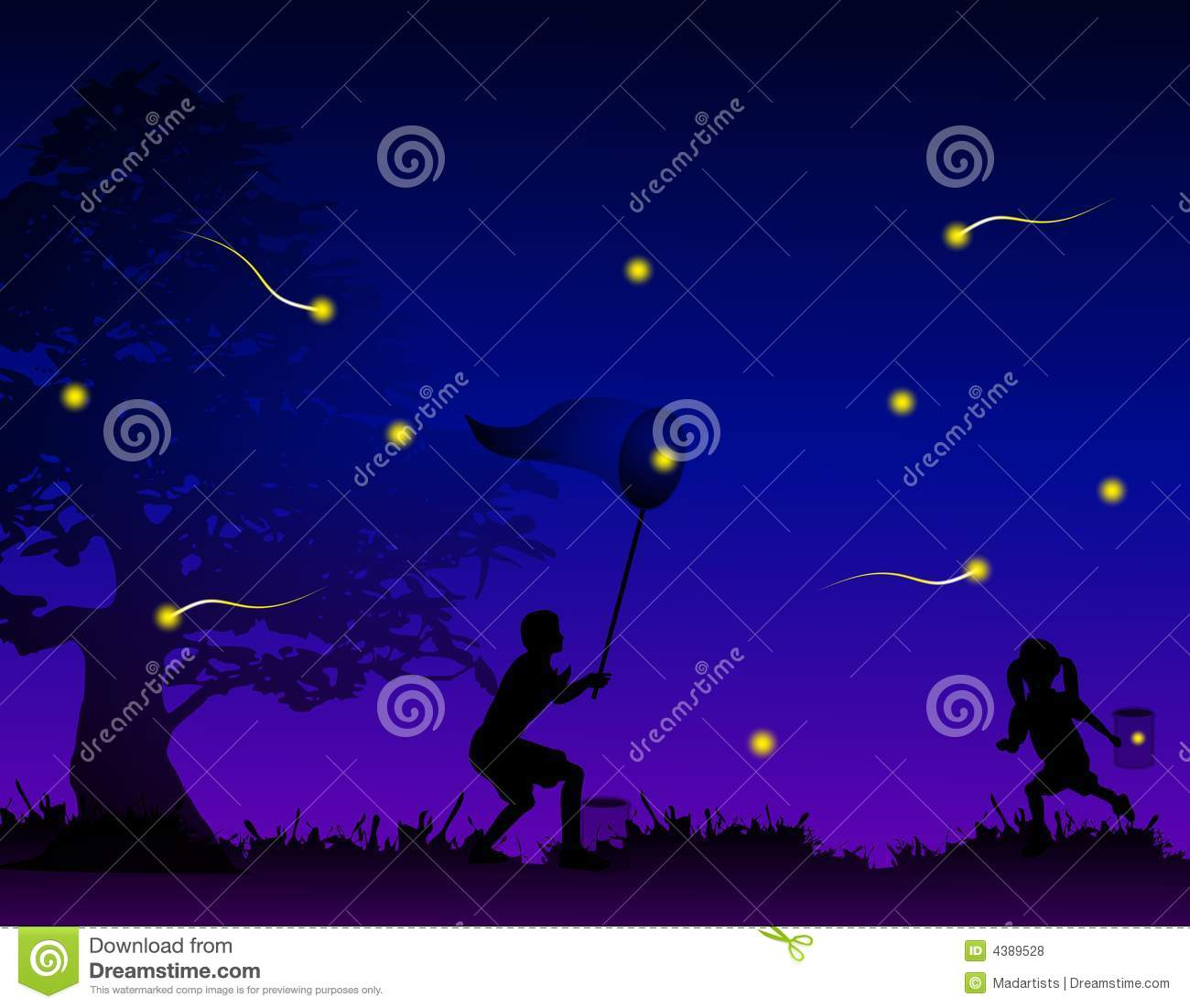 Kids Catching Fireflies In Field Stock Illustration Illustration