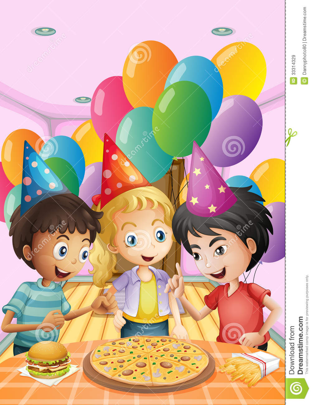 kids celebrating a birthday with a pizza  burger and fries Pizza and Salad Clip Art pizza party clip art free