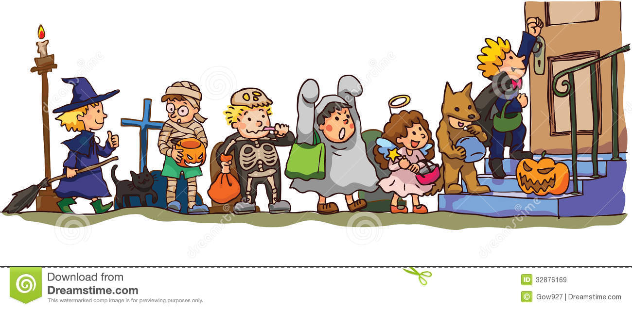 kids celerbrating halloween its trick or treat stock vector rh dreamstime com trick or treat clipart images trick or treat 2017 clipart