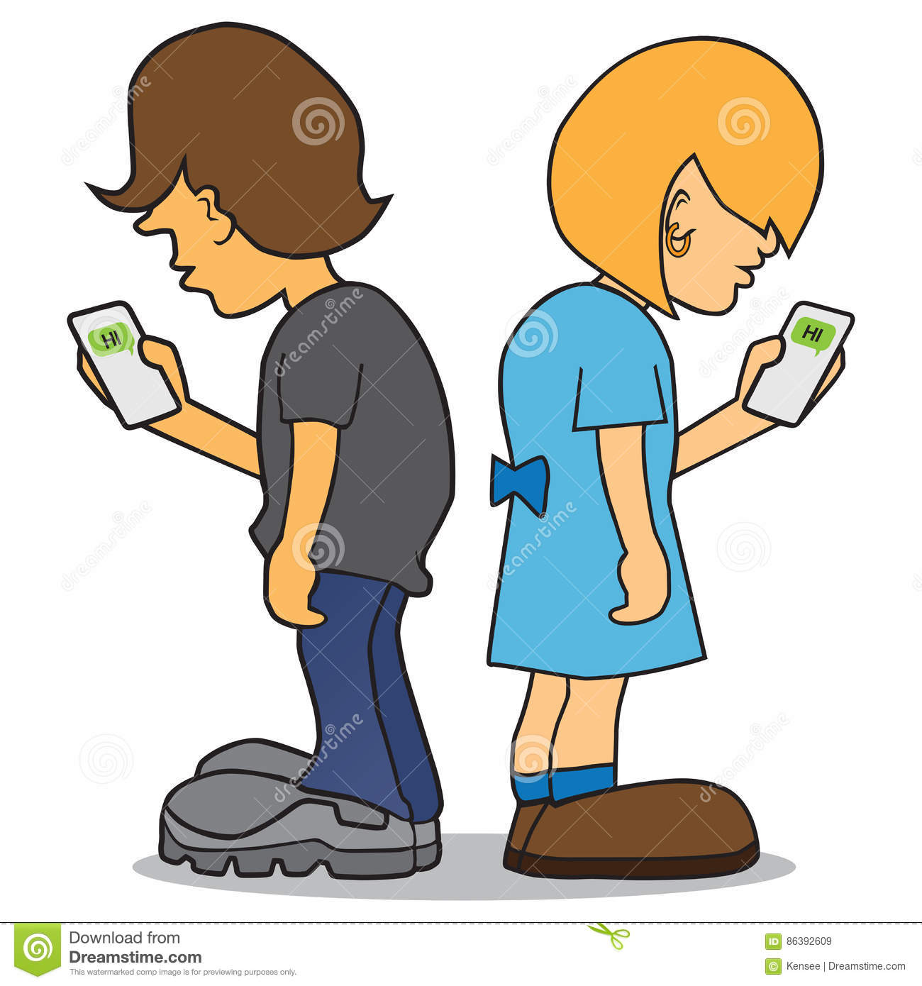 Kids On Cell Phones stock vector. Illustration of devices ...