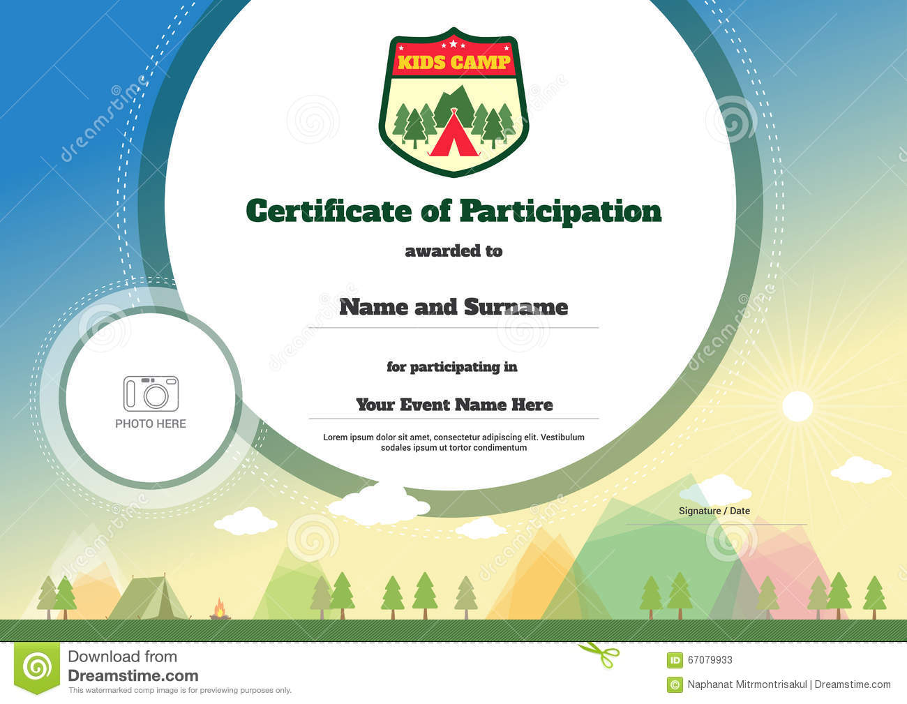 Kids certificate template in vector for camping participation stock kids certificate template in vector for camping participation alramifo Images