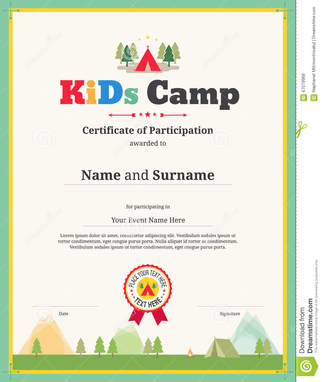 kids certificate template in vector for camping participation stock