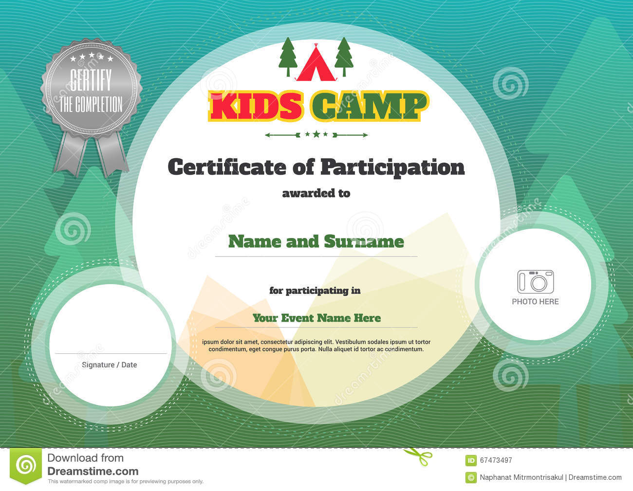 kids certificate template camping participation stock illustrations