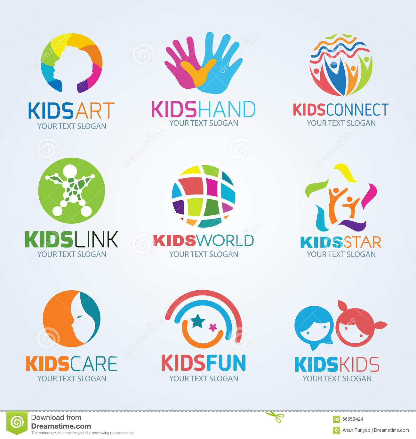 kids child logo vector set design stock vector image