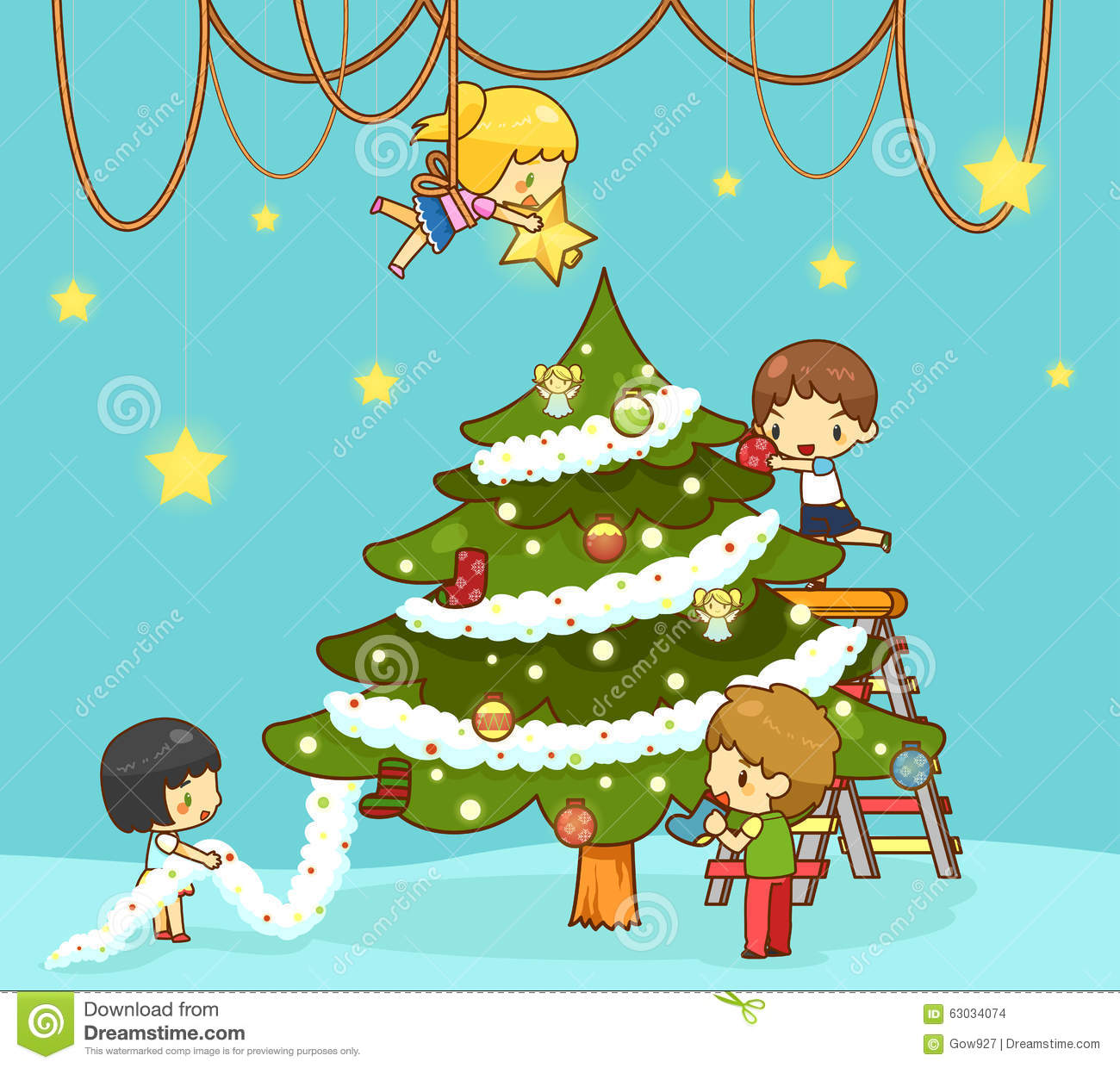 Kids Decorating Christmas Tree: Kids Children With Boy And Girl Friends Are Decorating