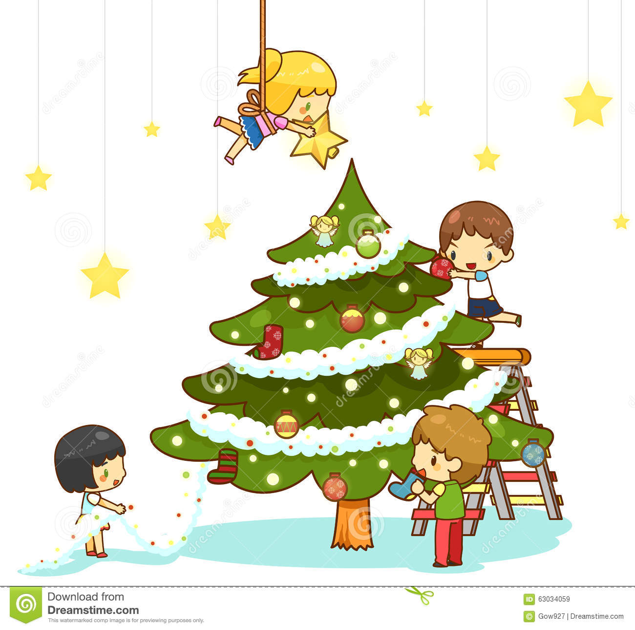 Kids Decorating For Christmas kids children with boy and girl friends stock vector - image: 63034059