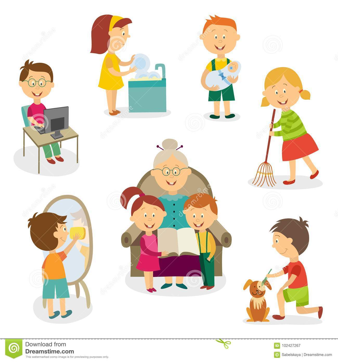 Kids Children Doing Home Activities Chores Stock Vector
