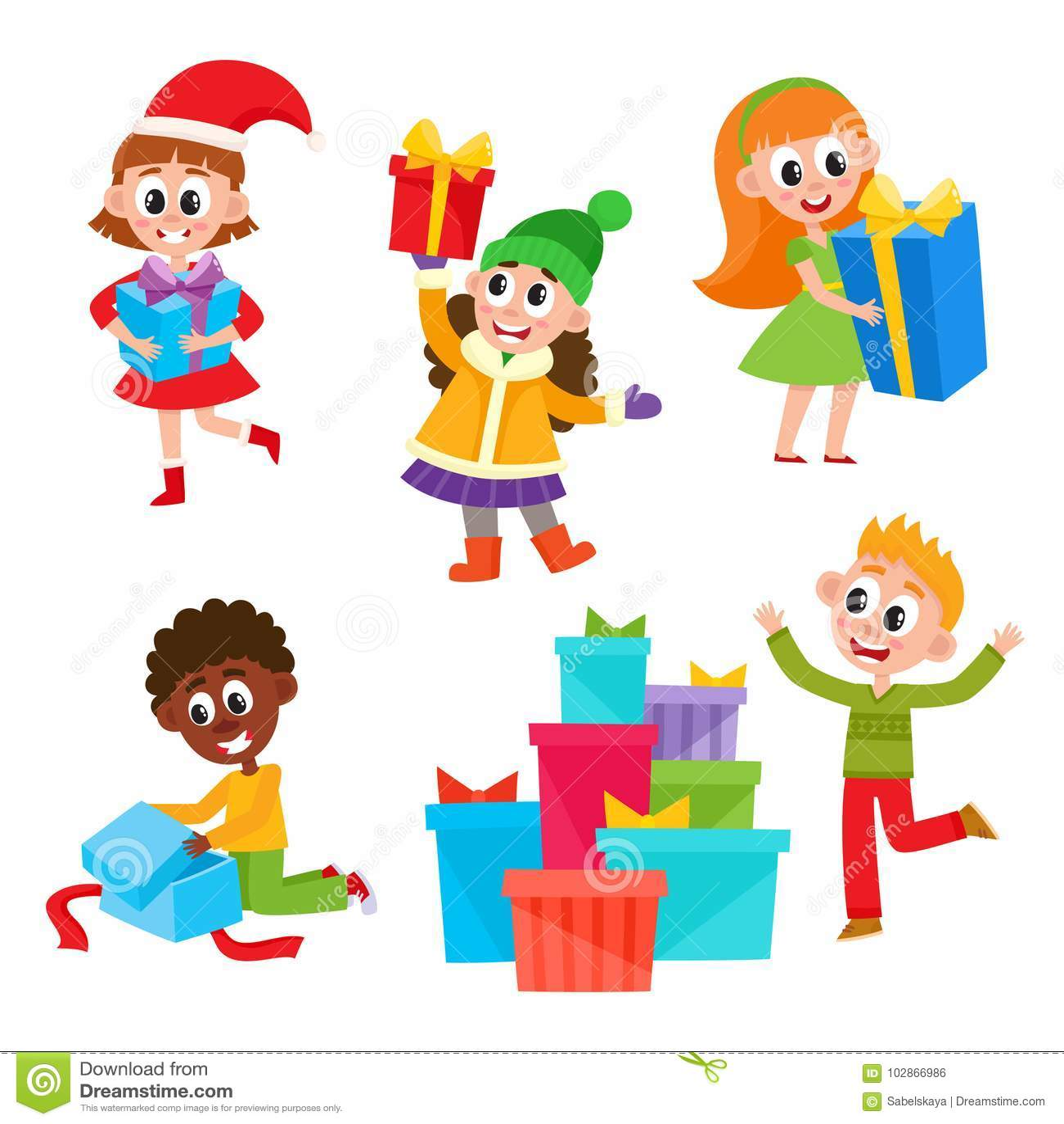 Kids, Children Getting Christmas Birthday Presents Stock