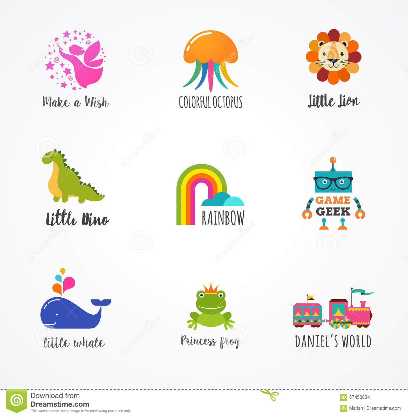Free Home Design Create Play Educational Quiz Games: Kids, Children Icons And Logos, Childhood Elements Stock