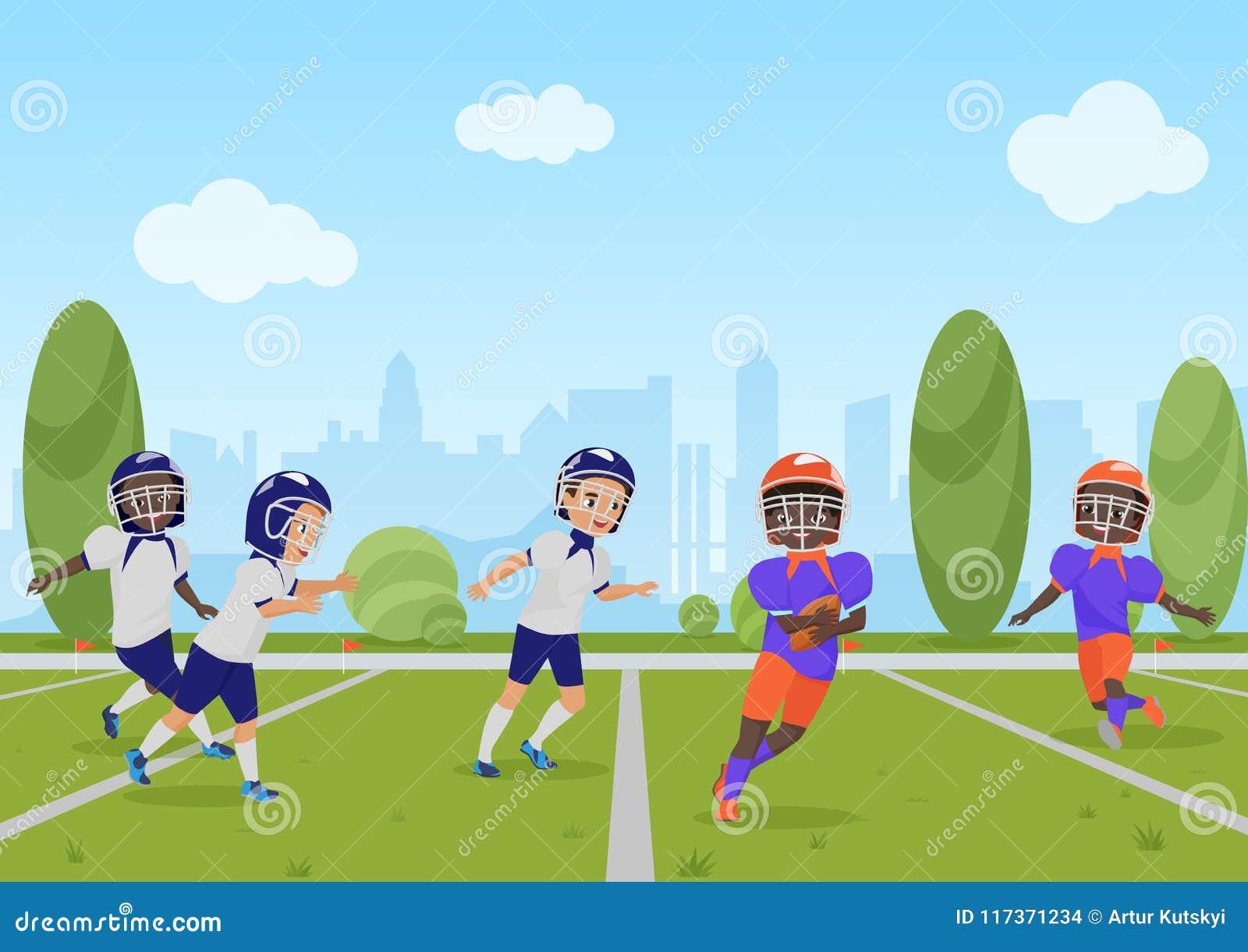 Kids Children Playing American Football Match. Vector ...