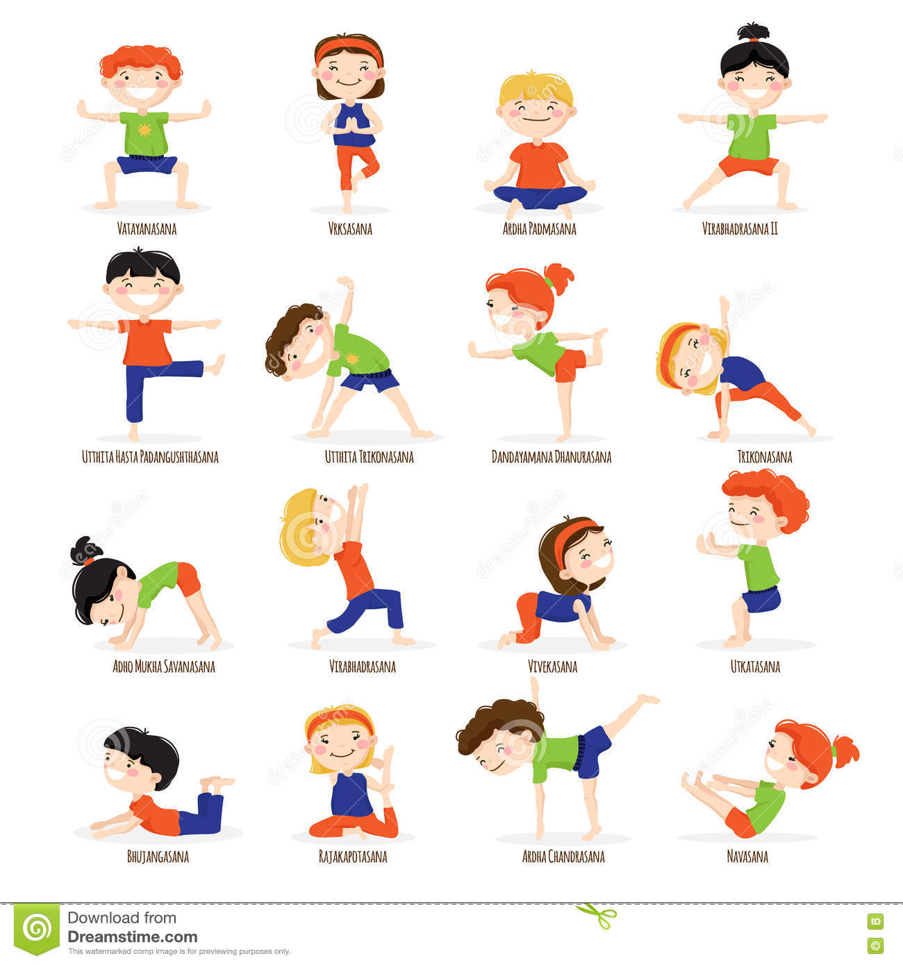 Kids Children Yoga Poses Cartoon Set Cute Boys And Girls In Top Asanas