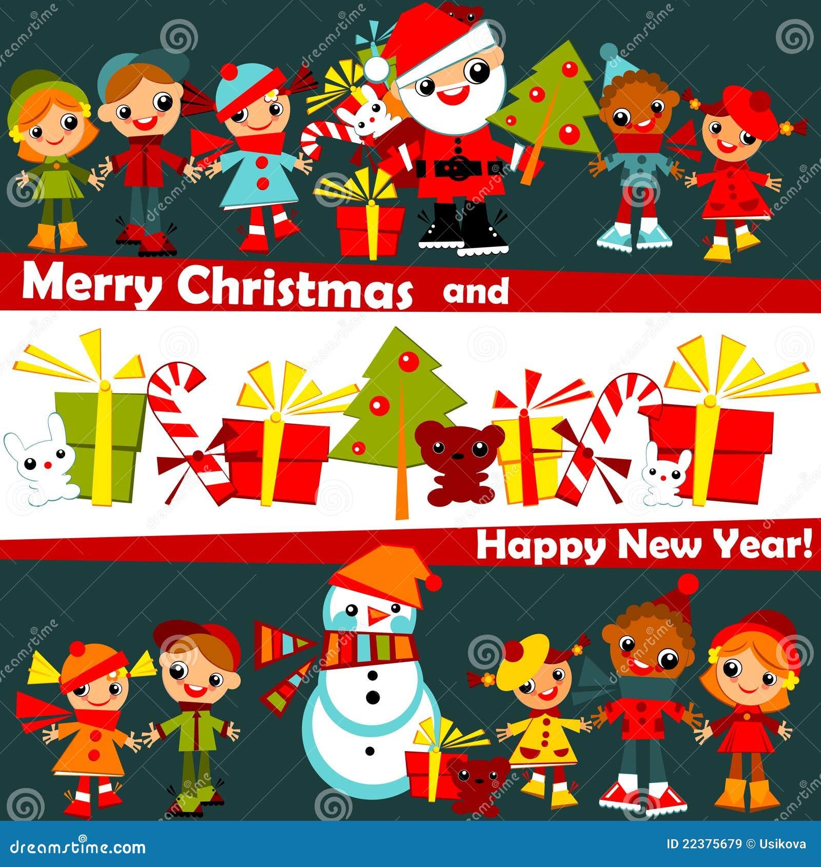 Kids Christmas background stock vector. Illustration of card - 22375679