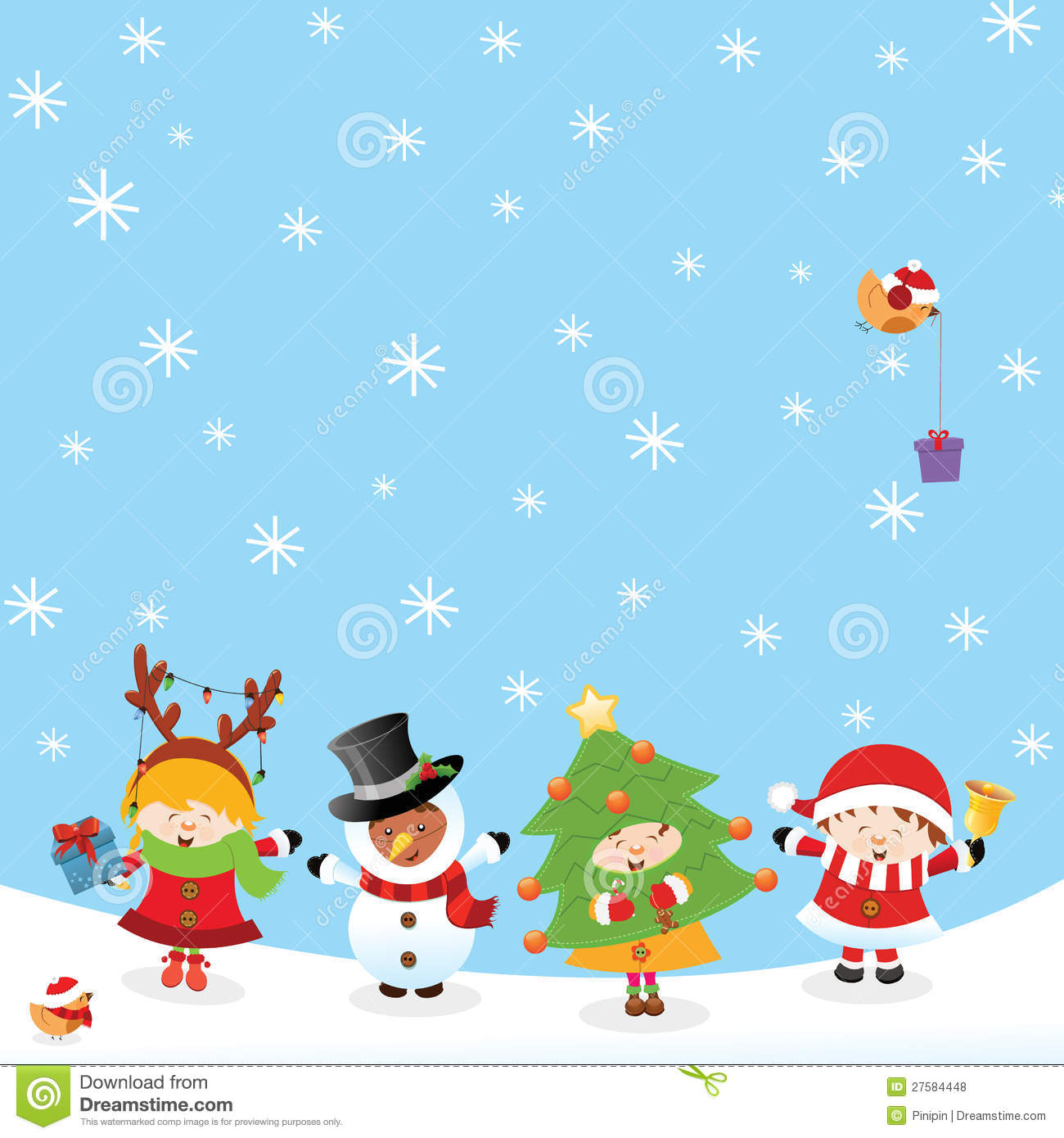 Kids Christmas.Kids With Christmas Costume Stock Vector Illustration Of