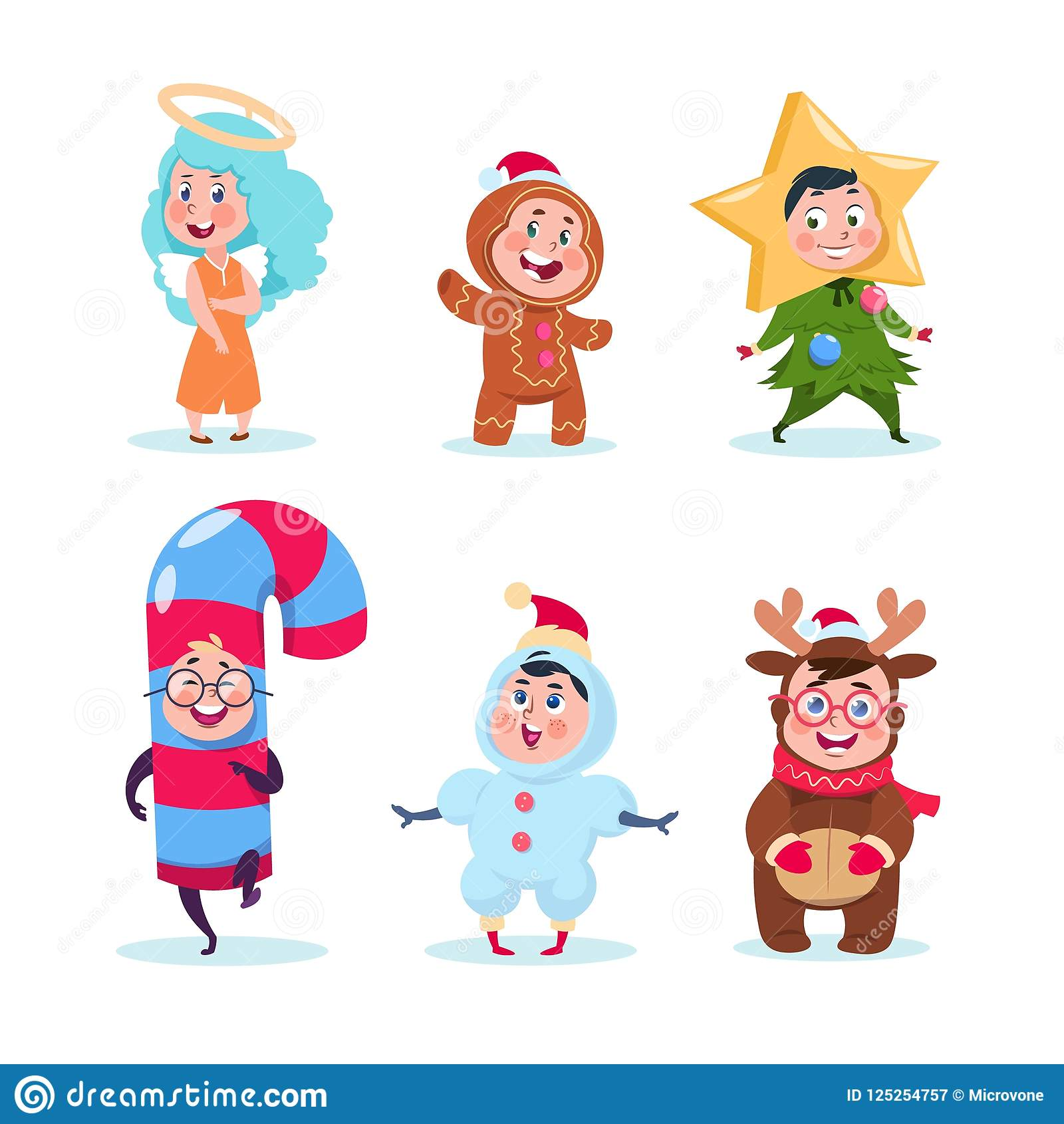 Kids In Christmas Costumes. Funny Children Celebrating Xmas And ...