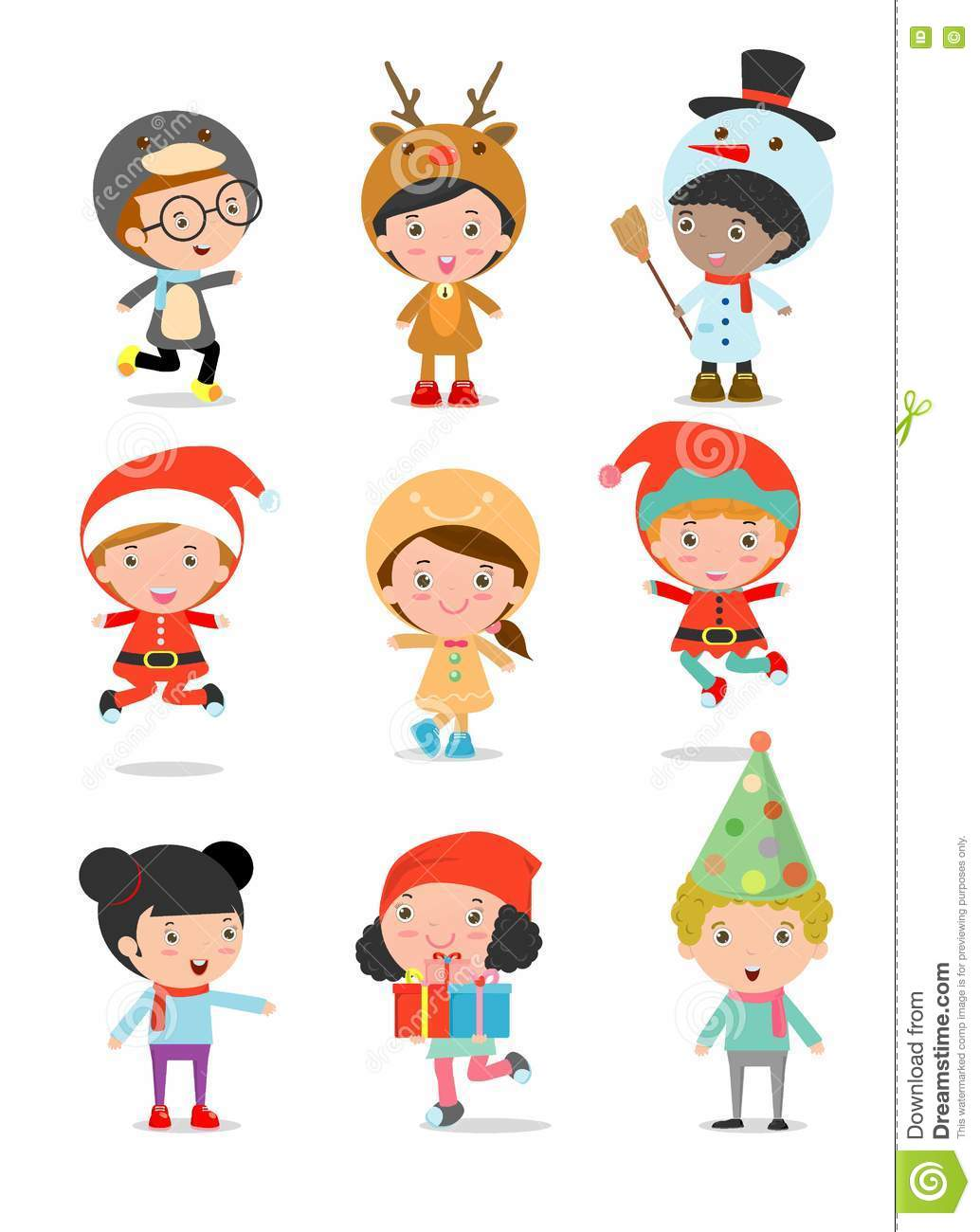 Kids With Christmas Costumes set.
