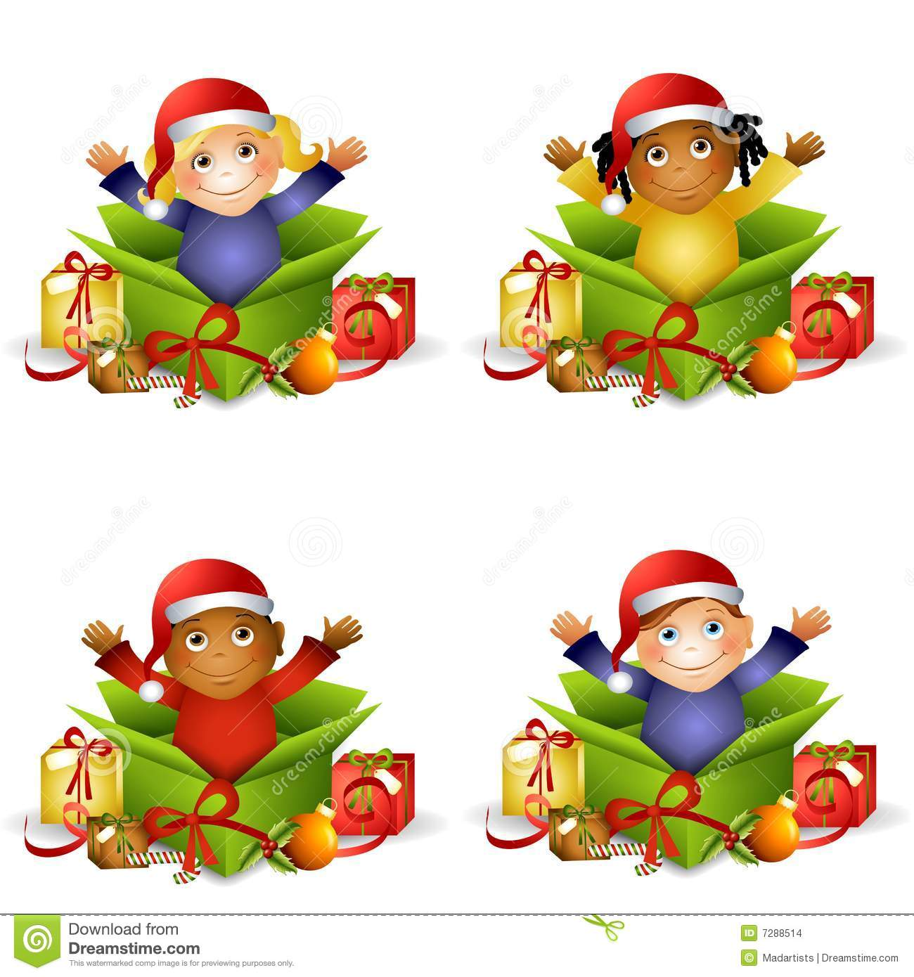 Christmas Gifts Toddlers: Kids Christmas Gifts Stock Illustration. Illustration Of
