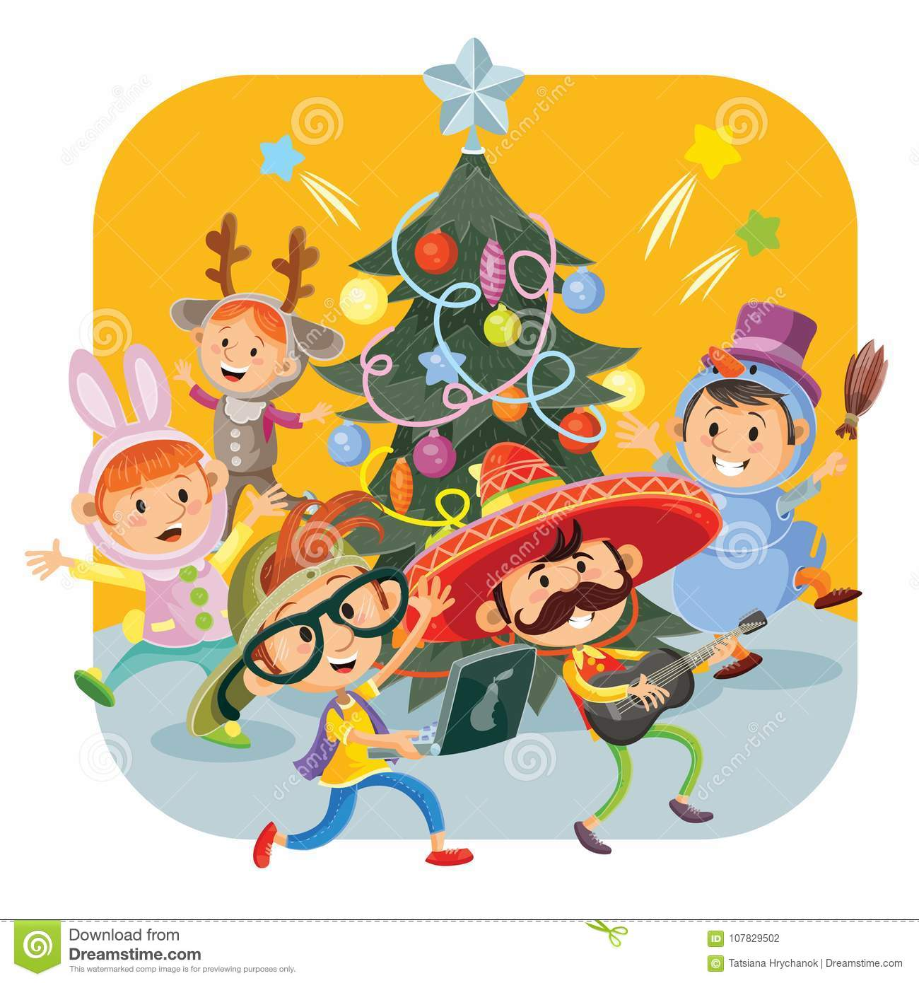 Kids Christmas Carnival Party Vector Illustration Stock Vector ...