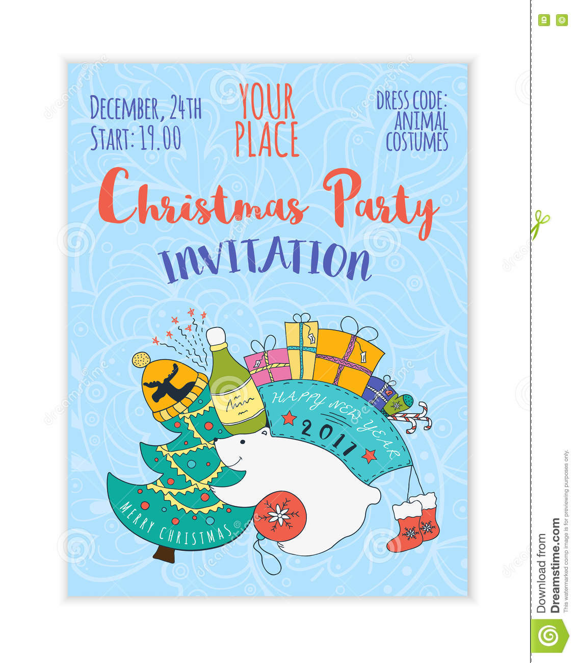 Christmas Children Party: Kids 2017 Christmas Party Invitation Stock Vector