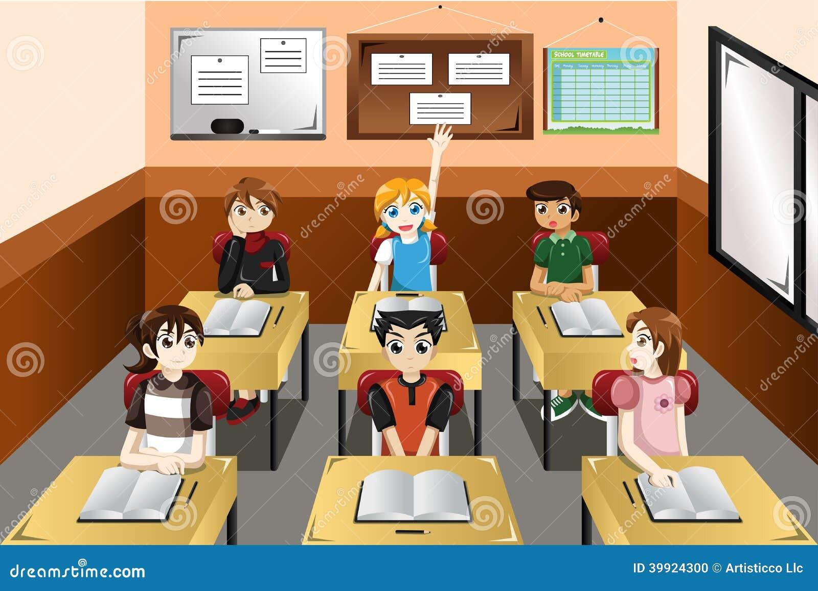 Kids In Classroom Stock Vector - Image: 39924300