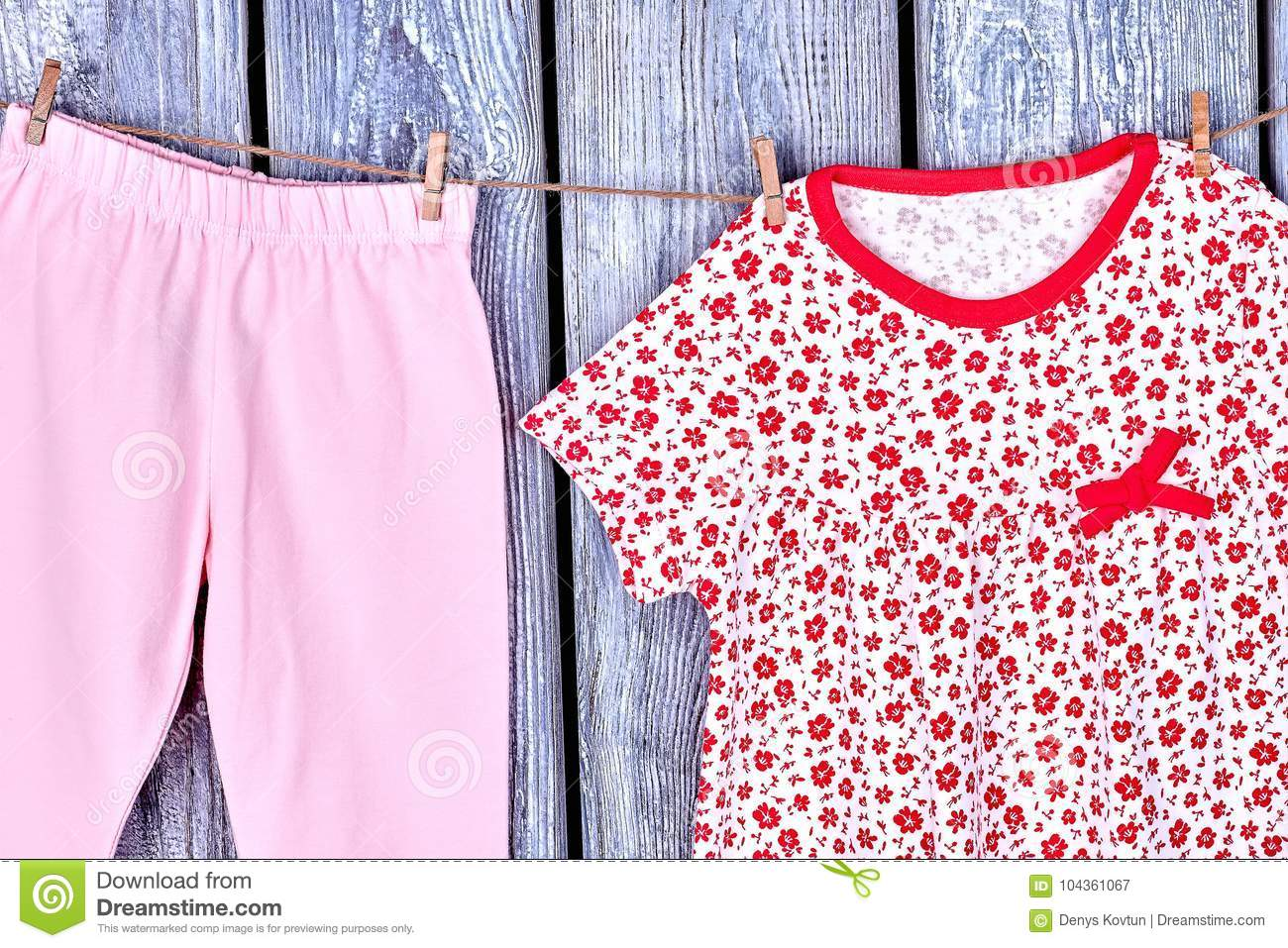 0ab6c60a4786 Kids Clean Apparel On Clothesline. Stock Image - Image of ...