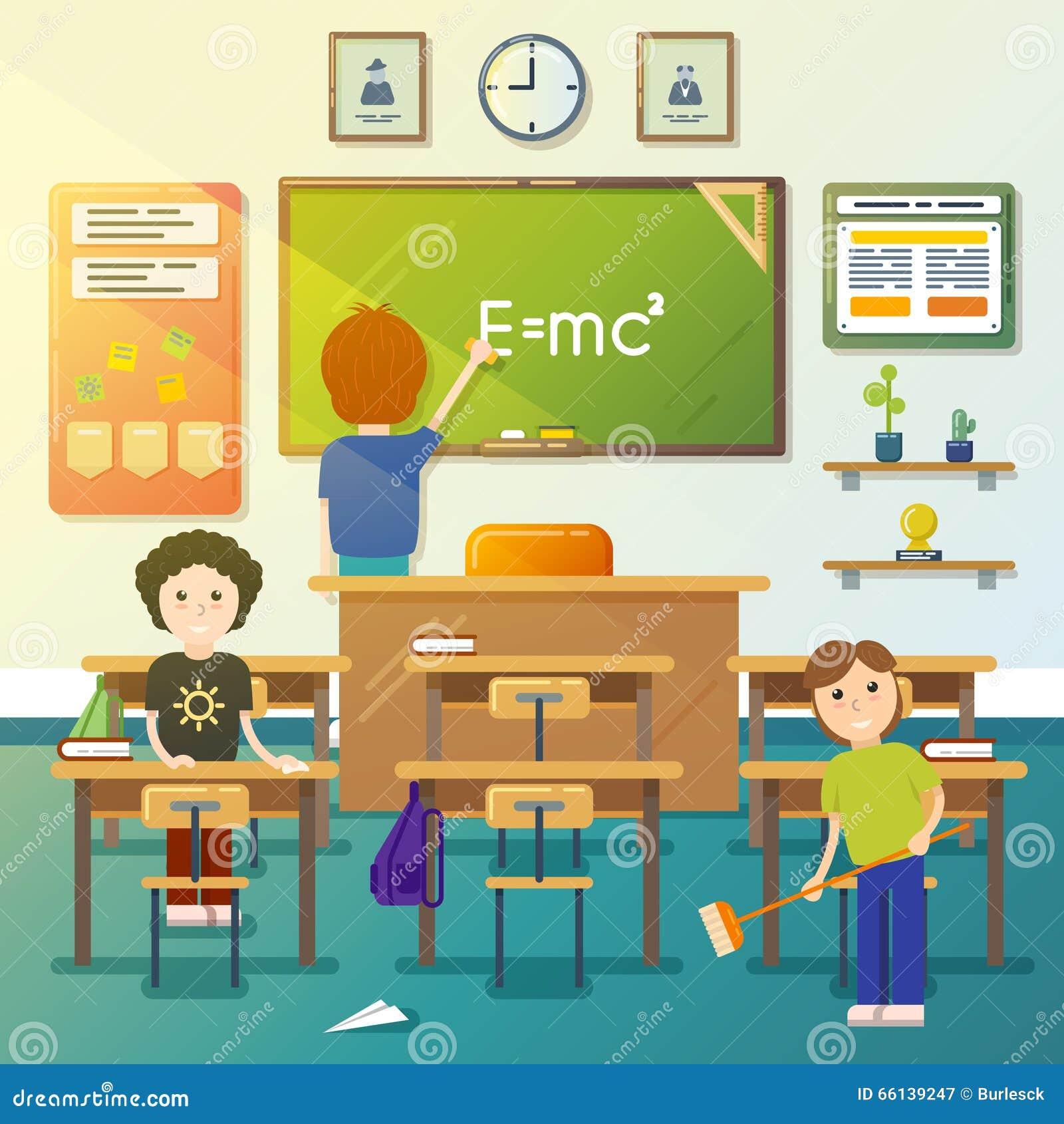 Classroom cleaning cartoon