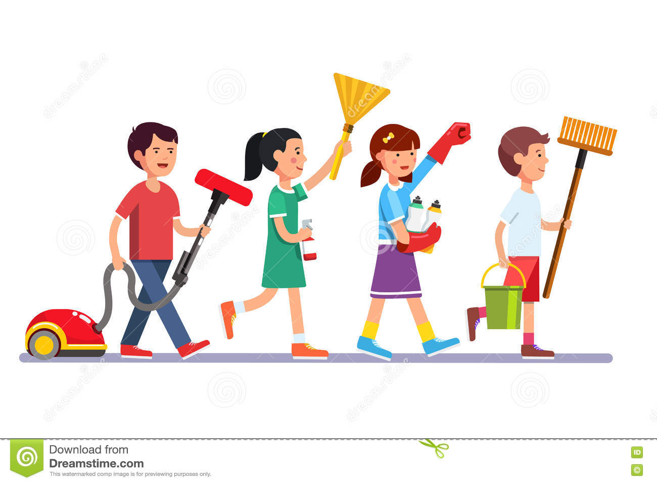 Kids Cleaning Team Doing Household Chores Stock Vector