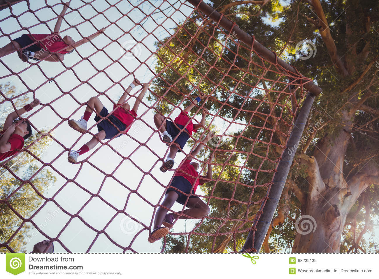 kids climbing a net during obstacle course training stock image