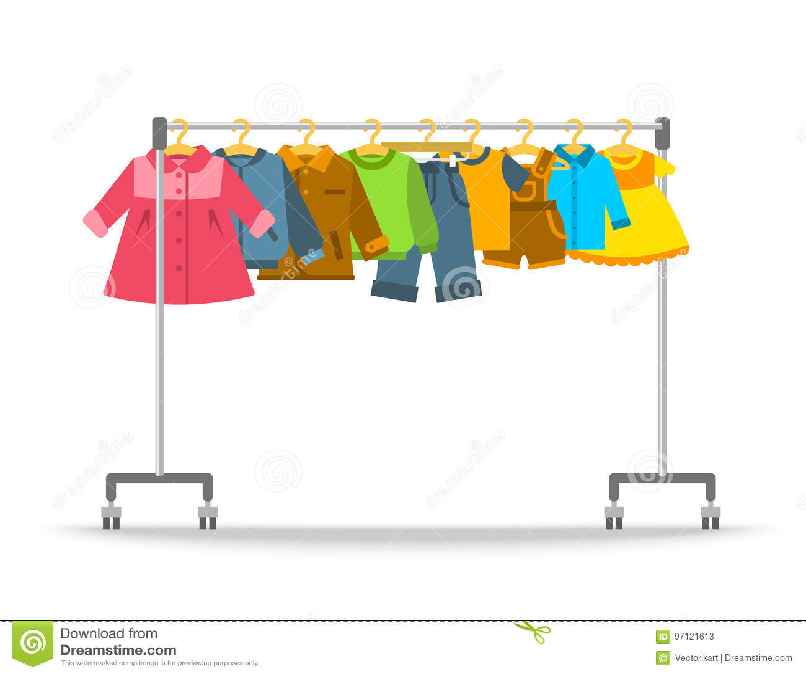 Kids Clothes Hanging On Hanger Rack Stock Vector