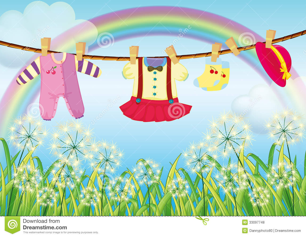 Kids Clothes Hanging Near The Grass Royalty Free Stock Photos ...