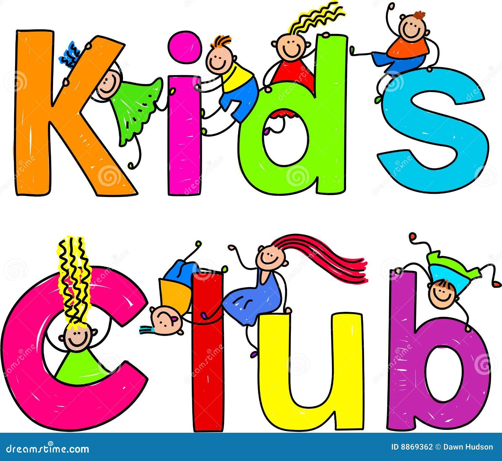 Cute children climbing over the words KIDS CLUB.