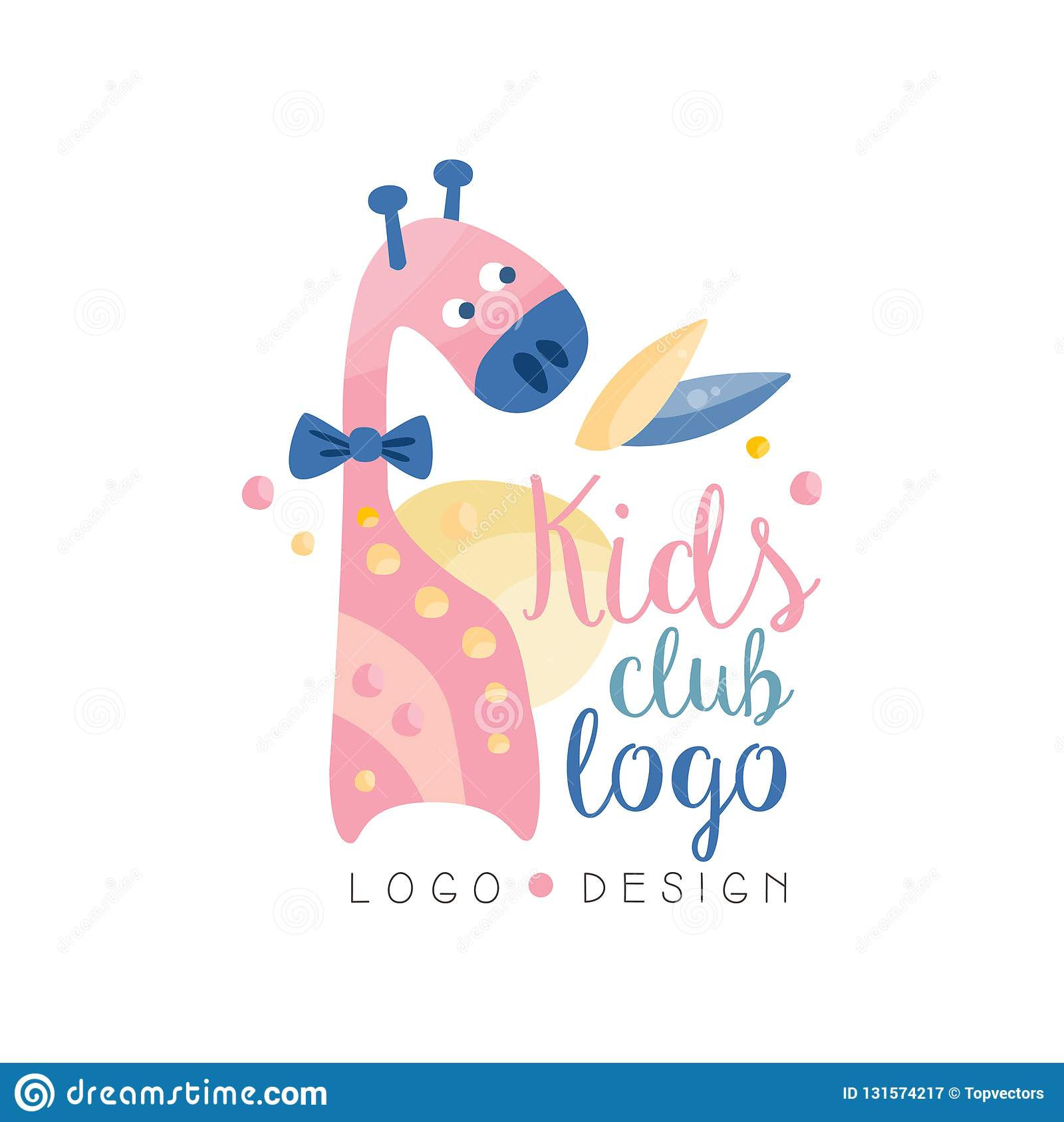 kids club logo design emblem with cute giraffe can be used for education center baby shop. Black Bedroom Furniture Sets. Home Design Ideas