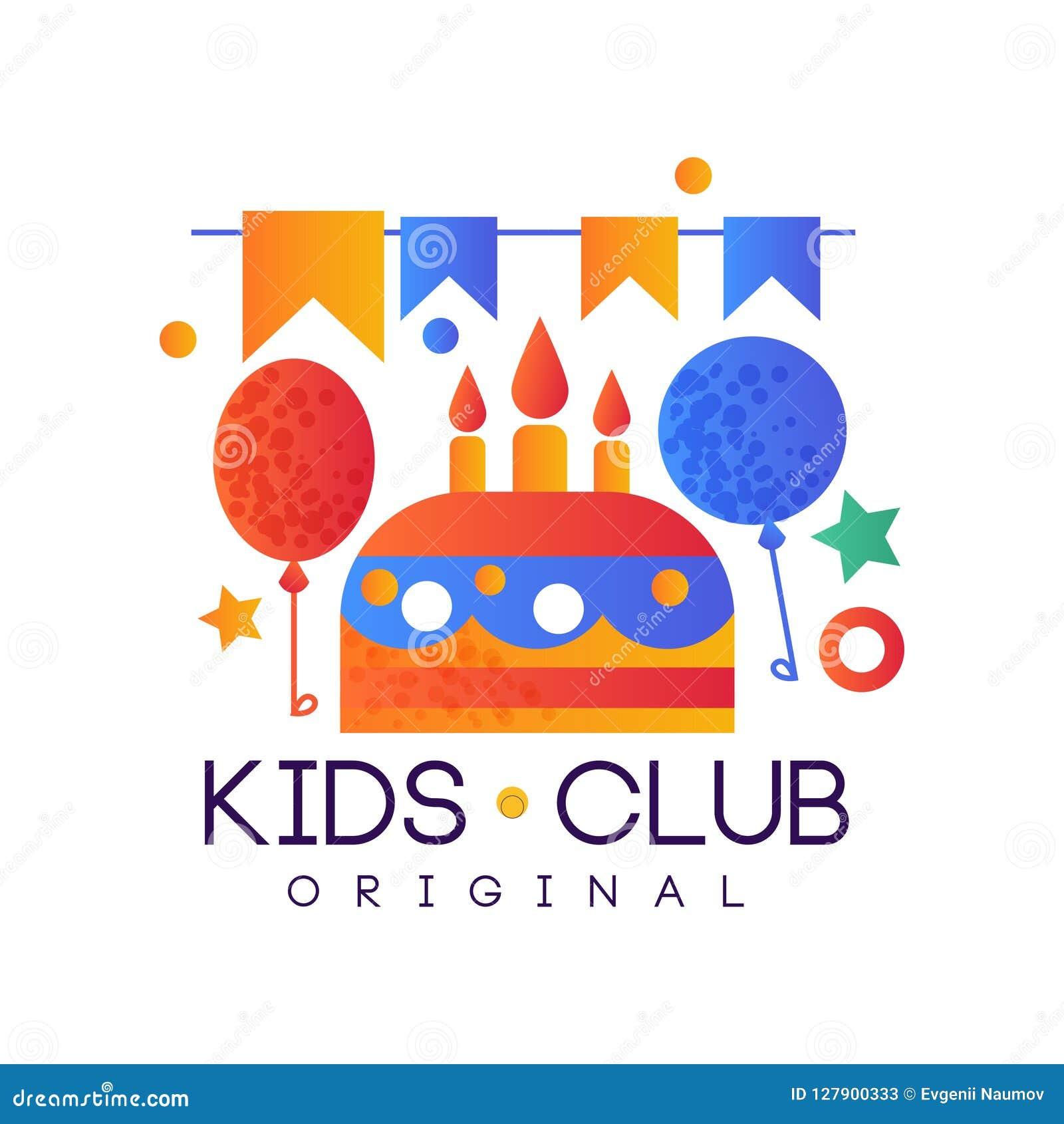 Kids Club Logo Original Colorful Creative Label Template