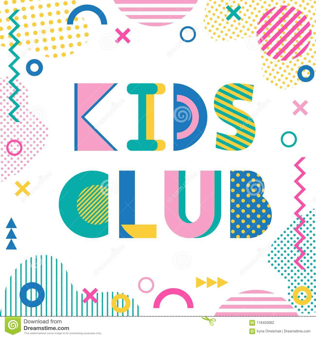 Kids Club Text And Geometric Elements Isolated On A White
