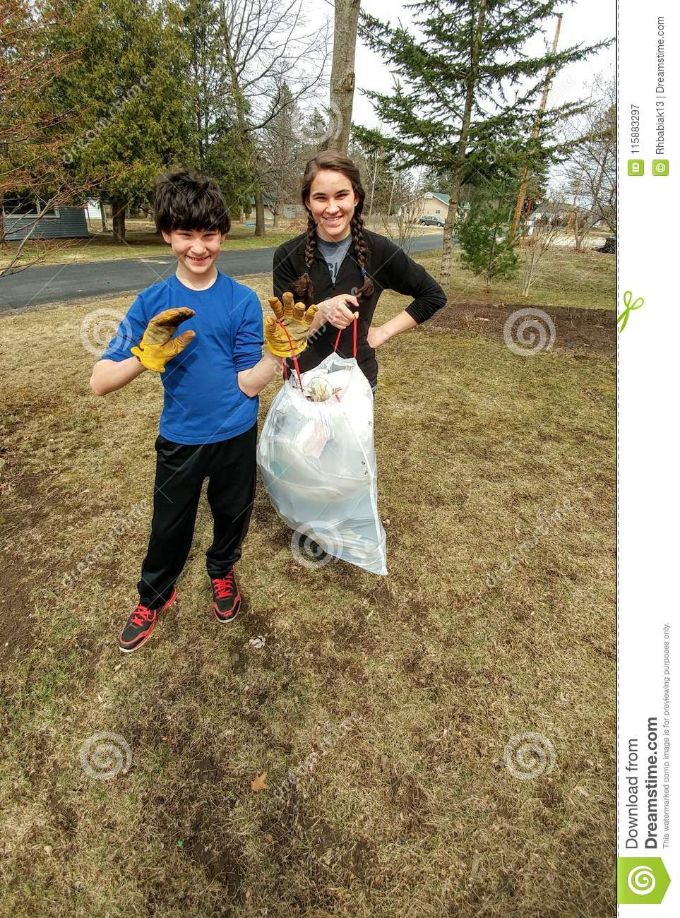 Kids Collecting Trash - Community Clean Up