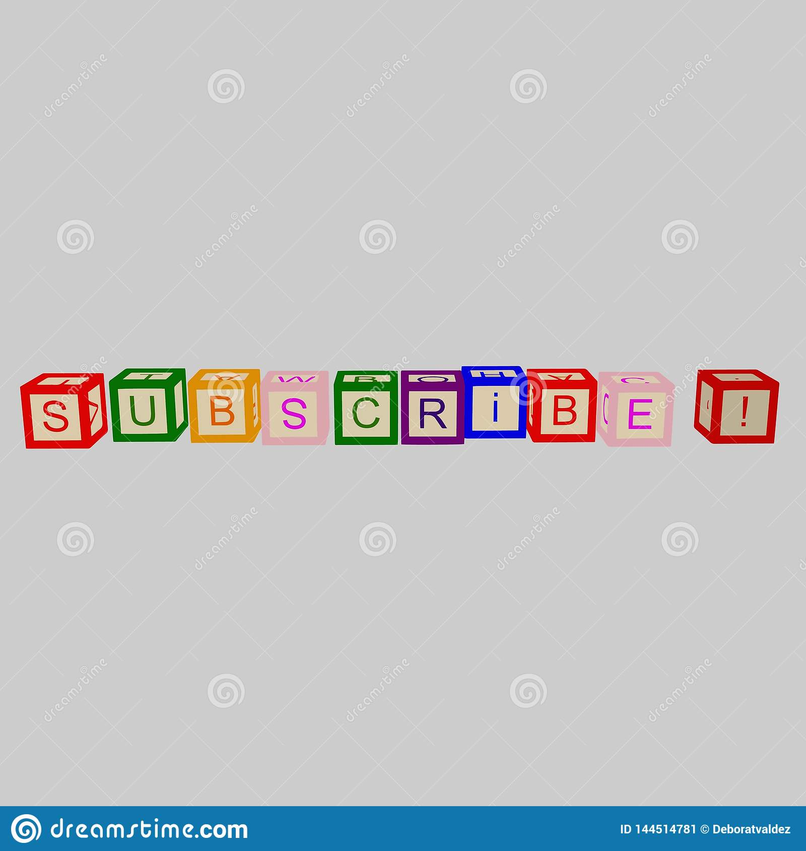 Kids color cubes with letters. Subscribe word. Vector.