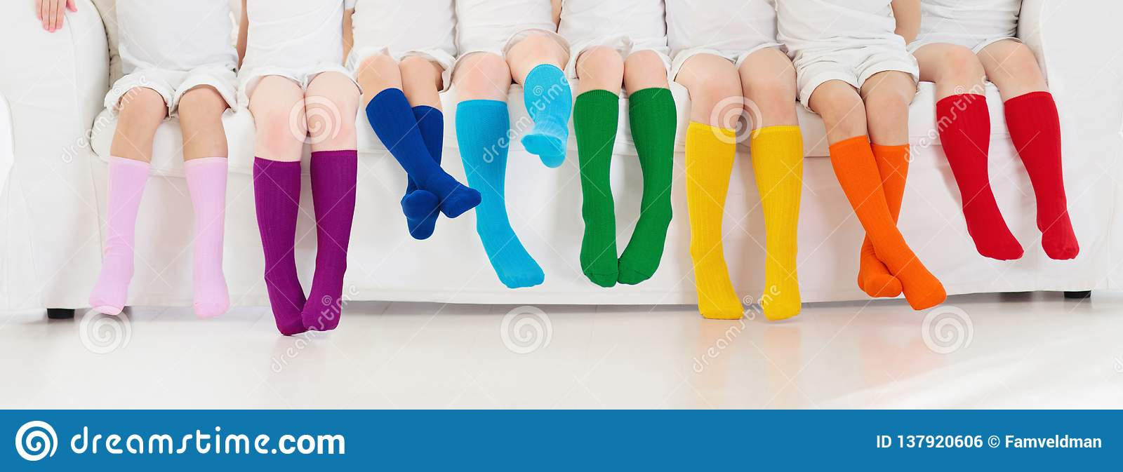 29e7fc692b2 Kids With Colorful Socks. Children Footwear Stock Photo - Image of ...