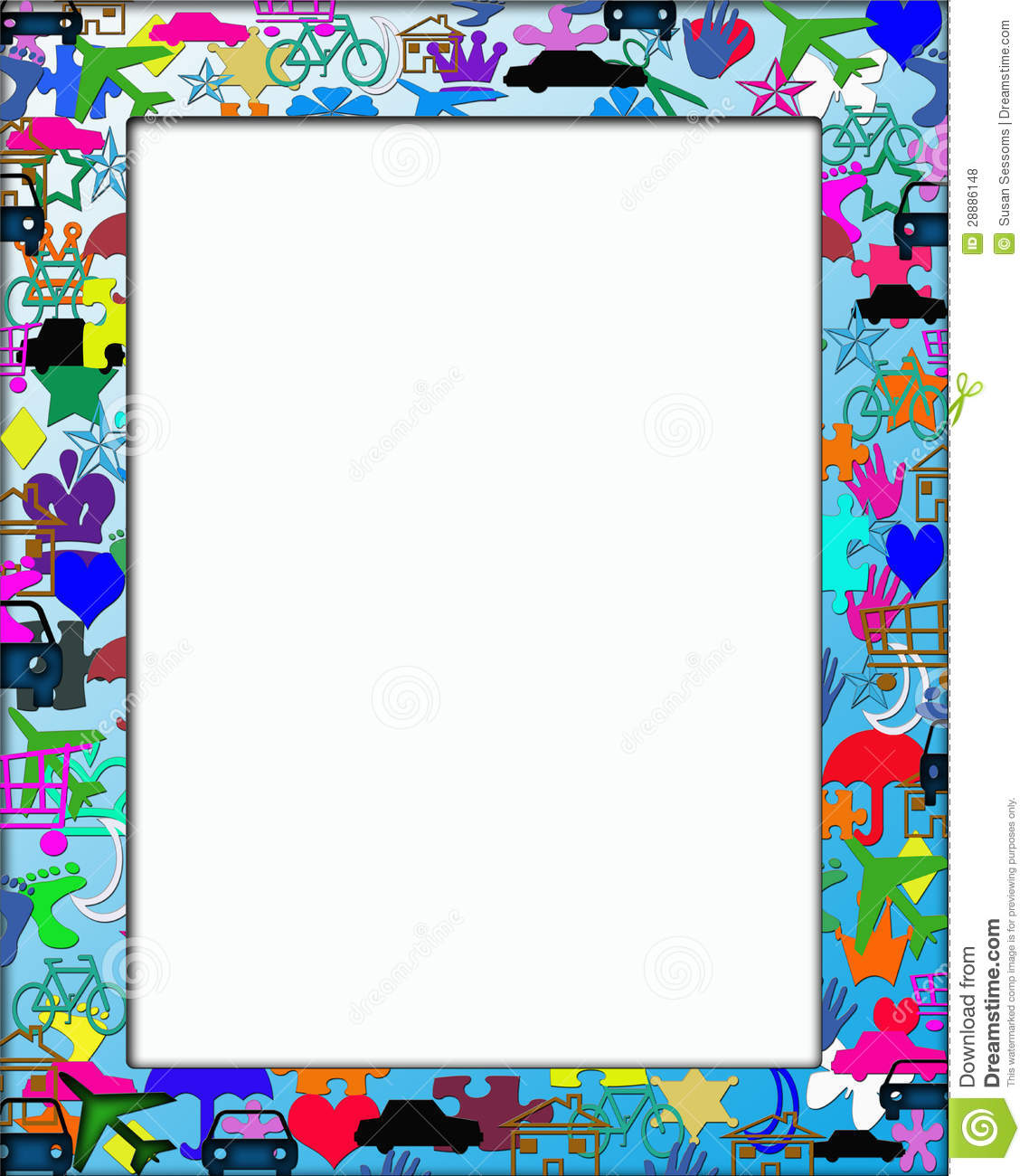 Kids Colorful Themed Frame Border Stock Photo - Illustration of ...