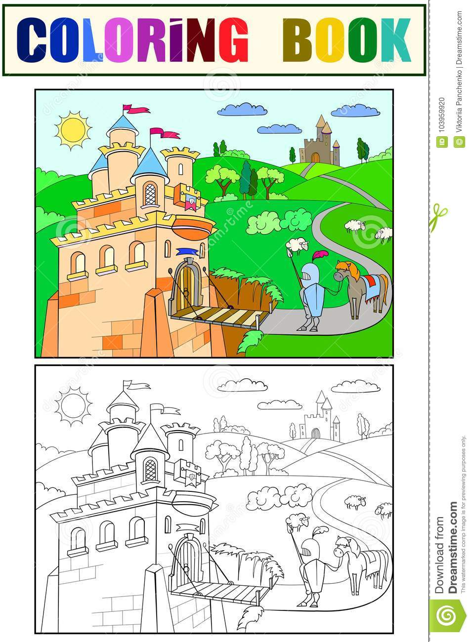 Kids Coloring Cartoon Knightly Castle Vector Stock Vector ...