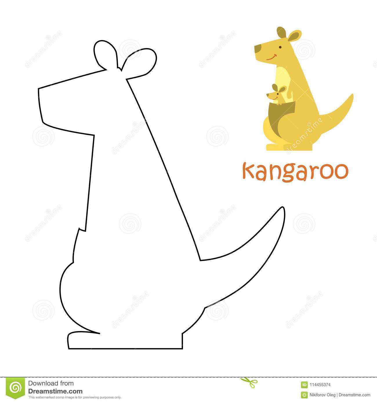 Kids coloring page kangaroo stock vector illustration of paint